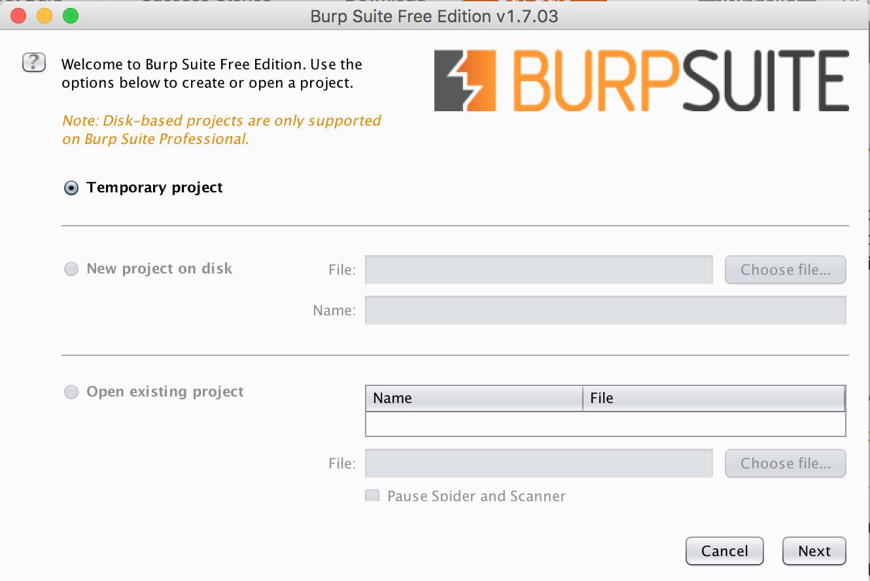Burp Suite free startup
