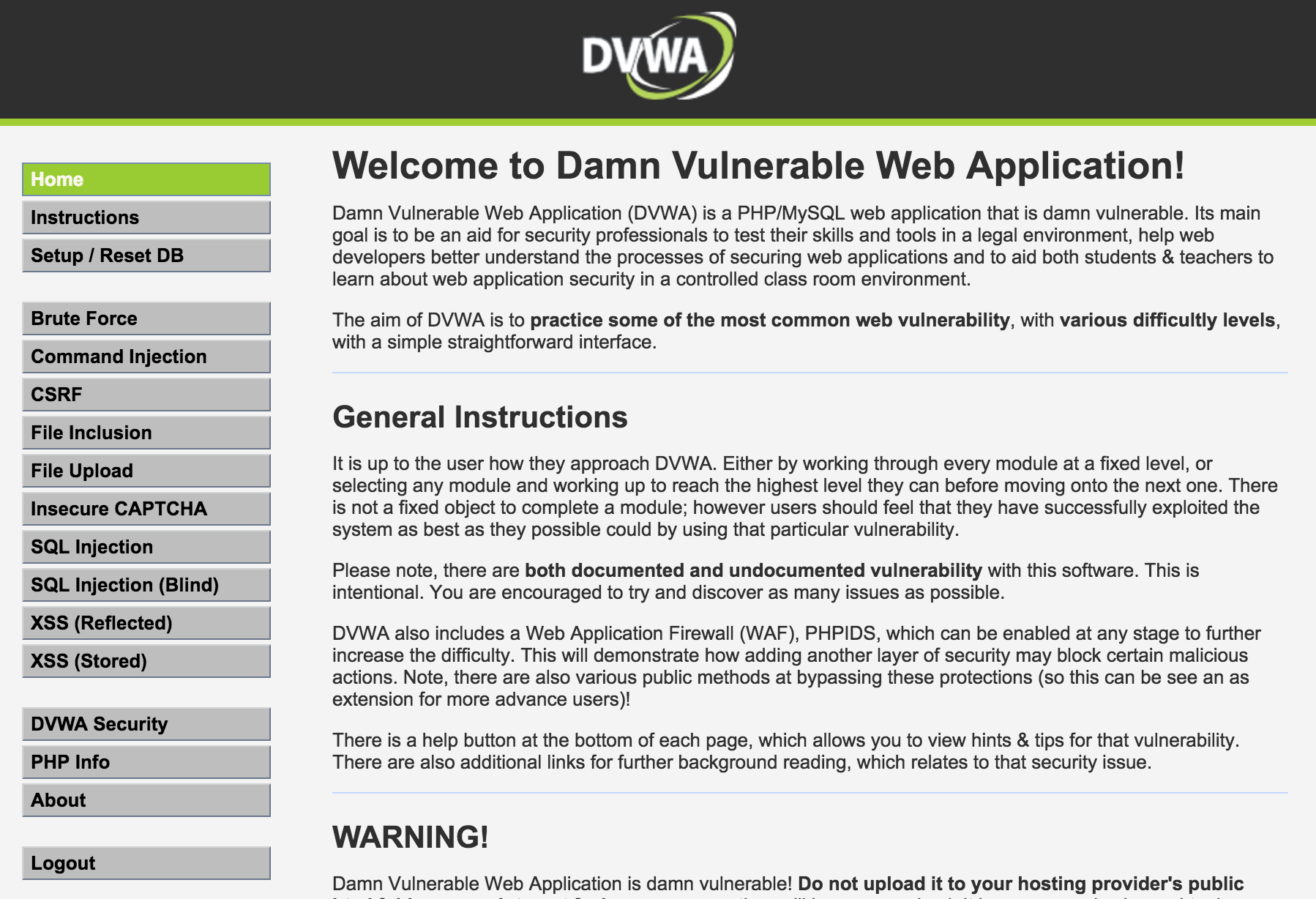 Damn Vulnerable Web Application DVWA